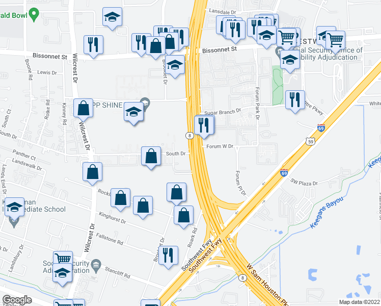 map of restaurants, bars, coffee shops, grocery stores, and more near Texas 8 Beltway & South Dr in Houston