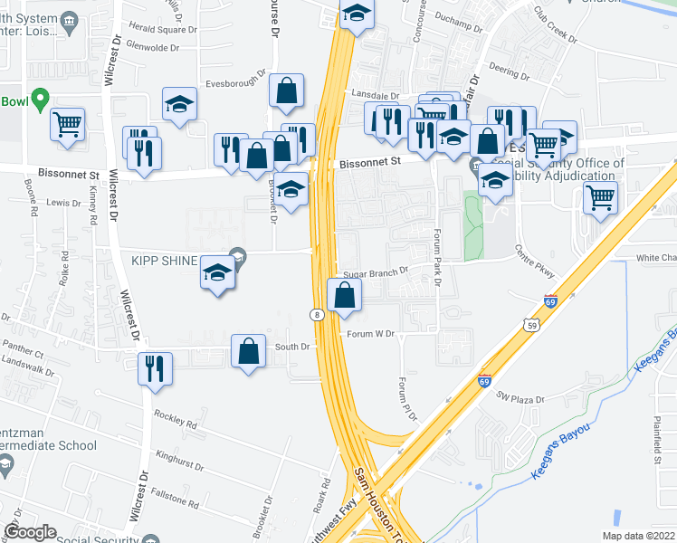 map of restaurants, bars, coffee shops, grocery stores, and more near 11 Sugar Branch Drive in Houston
