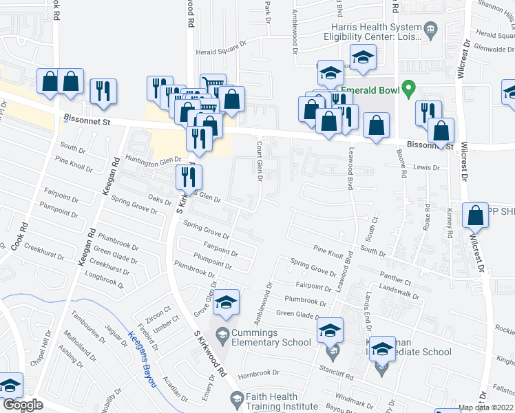 map of restaurants, bars, coffee shops, grocery stores, and more near 9693-9755 Court Glen Drive in Houston