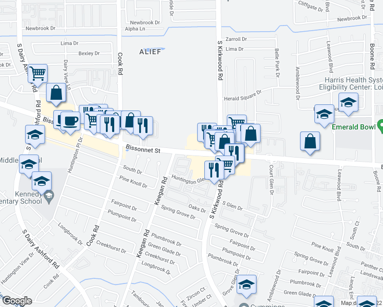 map of restaurants, bars, coffee shops, grocery stores, and more near 12038 Bissonnet St in Houston