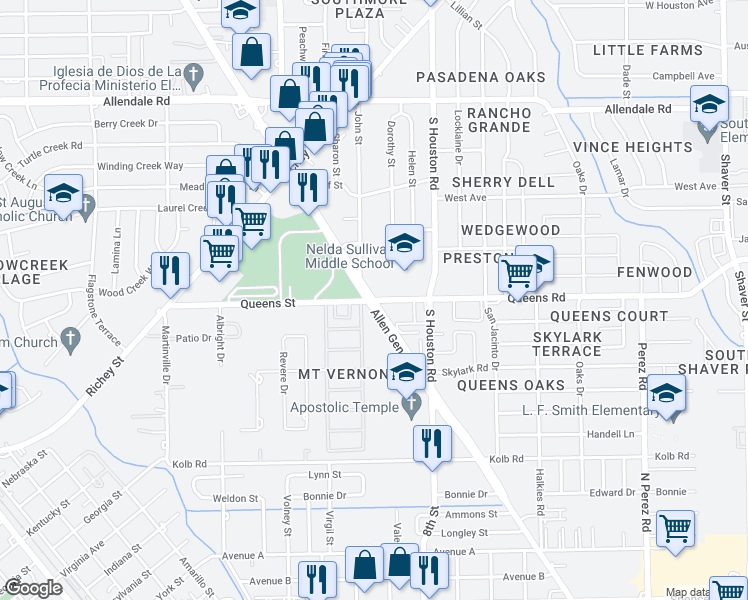 map of restaurants, bars, coffee shops, grocery stores, and more near Allen Genoa Rd & Queens Rd in Pasadena