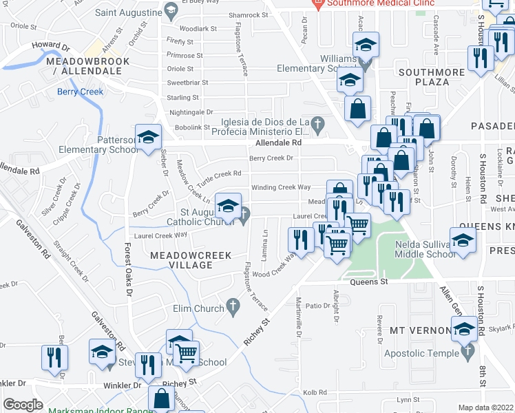 map of restaurants, bars, coffee shops, grocery stores, and more near 5606 Meadow Creek Lane in Houston