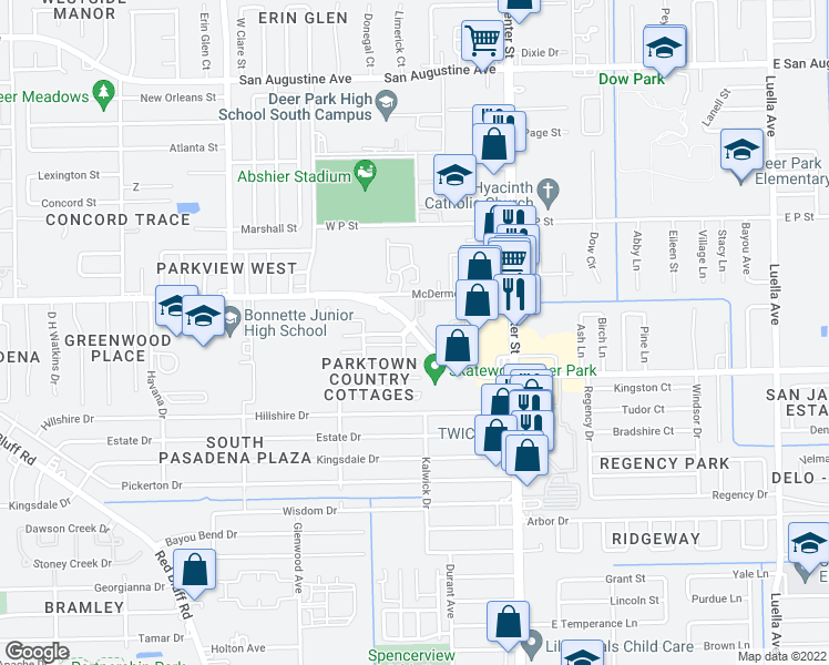 map of restaurants, bars, coffee shops, grocery stores, and more near 444 West Pasadena Boulevard in Deer Park