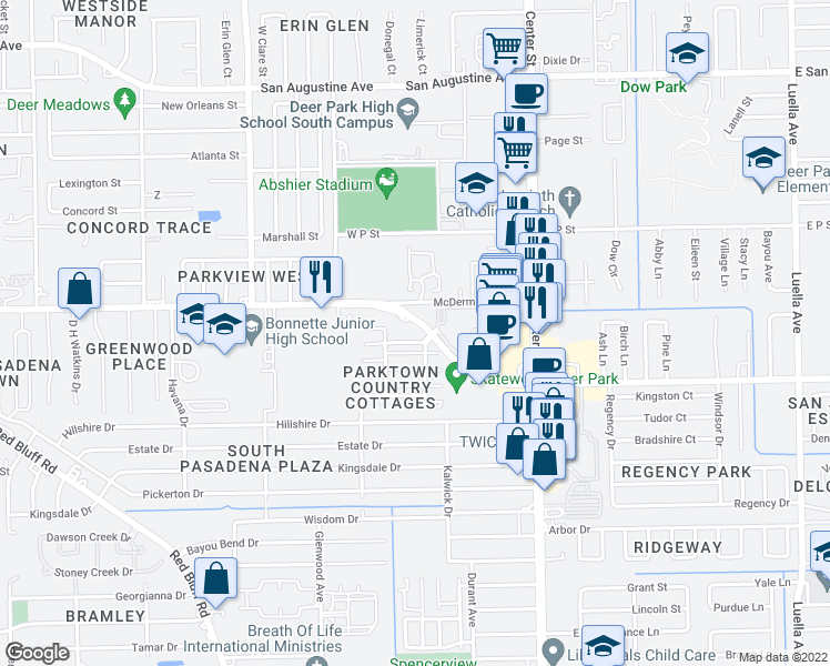 map of restaurants, bars, coffee shops, grocery stores, and more near 501-699 N Parktown Dr in Deer Park