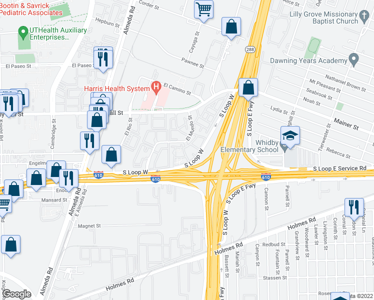 map of restaurants, bars, coffee shops, grocery stores, and more near S Loop W Fwy in Houston