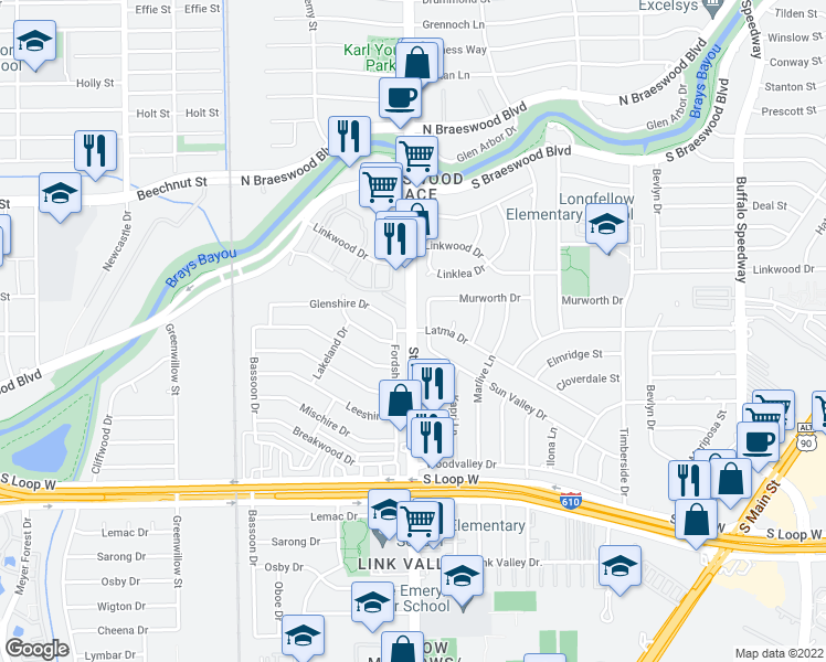 map of restaurants, bars, coffee shops, grocery stores, and more near Stella Link Rd & Latma Dr in Houston