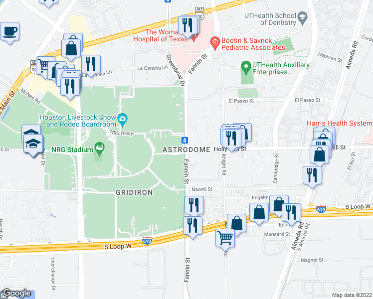 map of restaurants, bars, coffee shops, grocery stores, and more near Fannin Street & Holly Hall Street in Houston