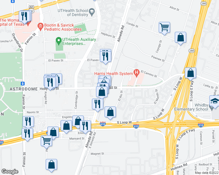 map of restaurants, bars, coffee shops, grocery stores, and more near Holly Hall Dr in Hous