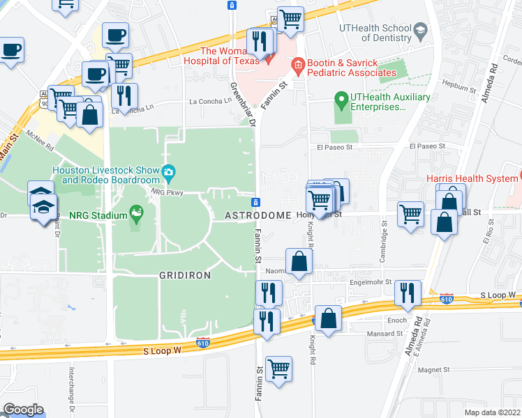 map of restaurants, bars, coffee shops, grocery stores, and more near 8455 Fannin St in Houston