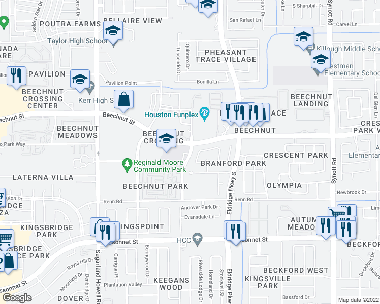 map of restaurants, bars, coffee shops, grocery stores, and more near 13810 Beechnut Street in Houston