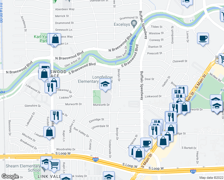 map of restaurants, bars, coffee shops, grocery stores, and more near 8803 Timberside Dr in Houston