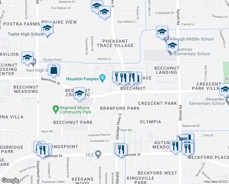 map of restaurants, bars, coffee shops, grocery stores, and more near 8506 Tomkins Cove Drive in Houston