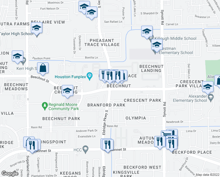 map of restaurants, bars, coffee shops, grocery stores, and more near Beechnut St & Eldridge Pkwy in Houston