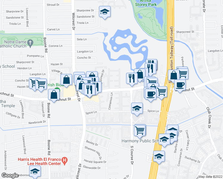 map of restaurants, bars, coffee shops, grocery stores, and more near 10556-10574 Beechnut St in Houston