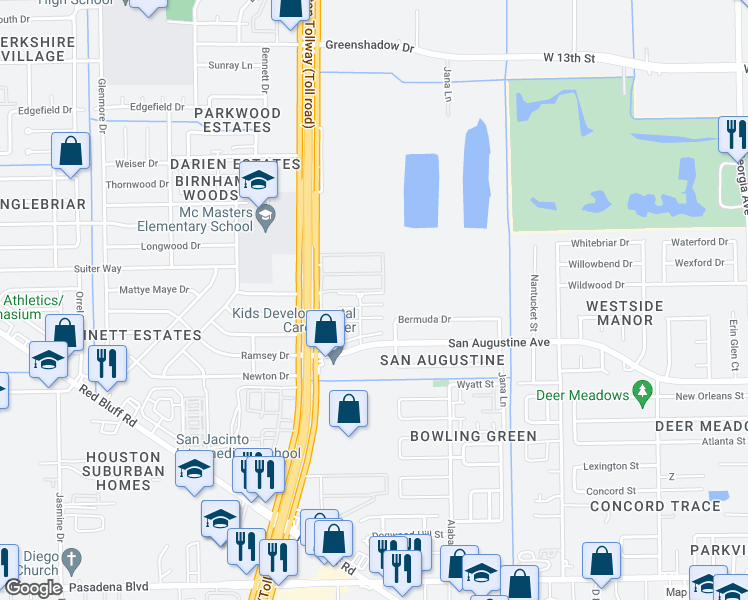 map of restaurants, bars, coffee shops, grocery stores, and more near 1127 Lyric Ln in Pasadena