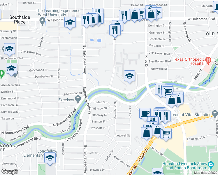 map of restaurants, bars, coffee shops, grocery stores, and more near N Braeswood Blvd & Brompton St in Houston