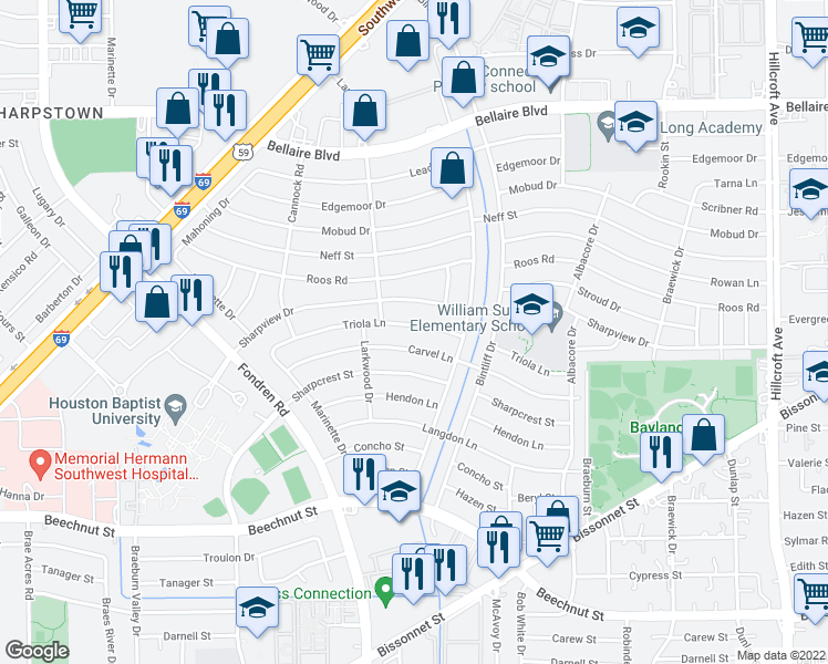 map of restaurants, bars, coffee shops, grocery stores, and more near 7011 Triola Ln in Houston
