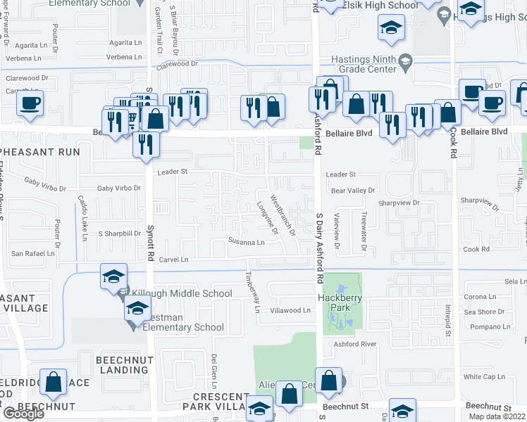 map of restaurants, bars, coffee shops, grocery stores, and more near Longvine Dr & Wirevine Ln in Houston