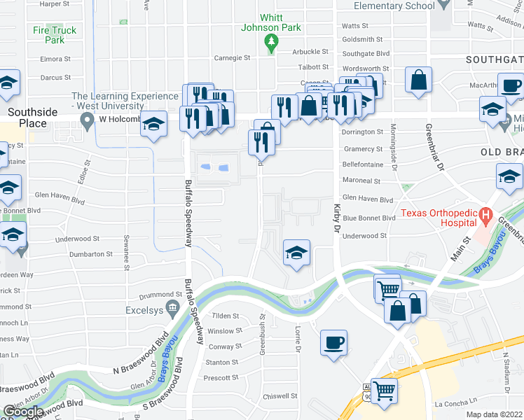 map of restaurants, bars, coffee shops, grocery stores, and more near 7315 Brompton Street in Houston