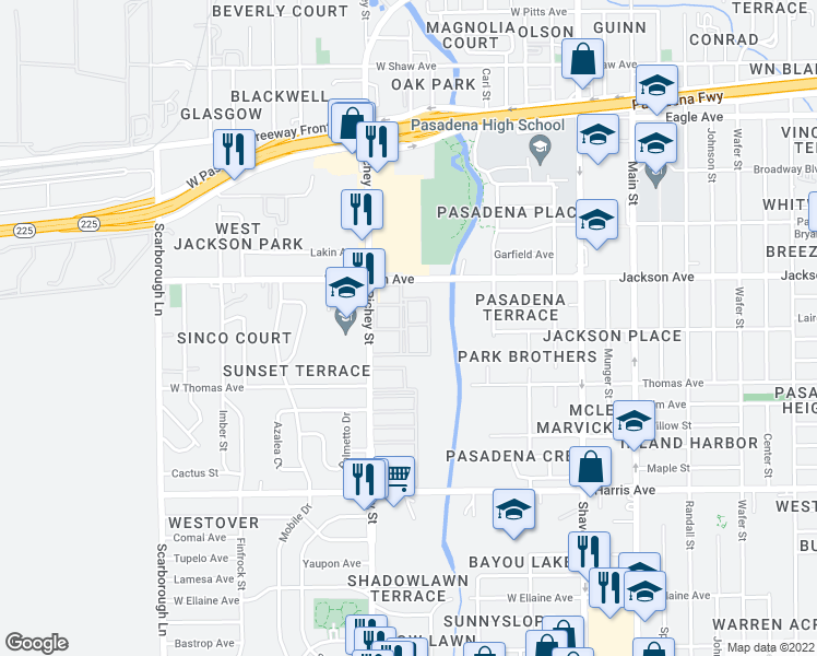 map of restaurants, bars, coffee shops, grocery stores, and more near 519 Richey St in Pasadena