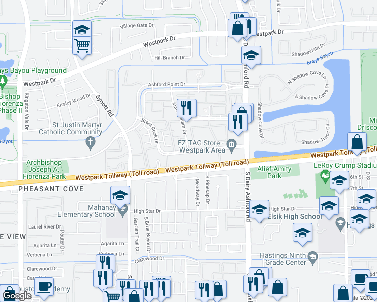 map of restaurants, bars, coffee shops, grocery stores, and more near Brant Rock Dr in Houston