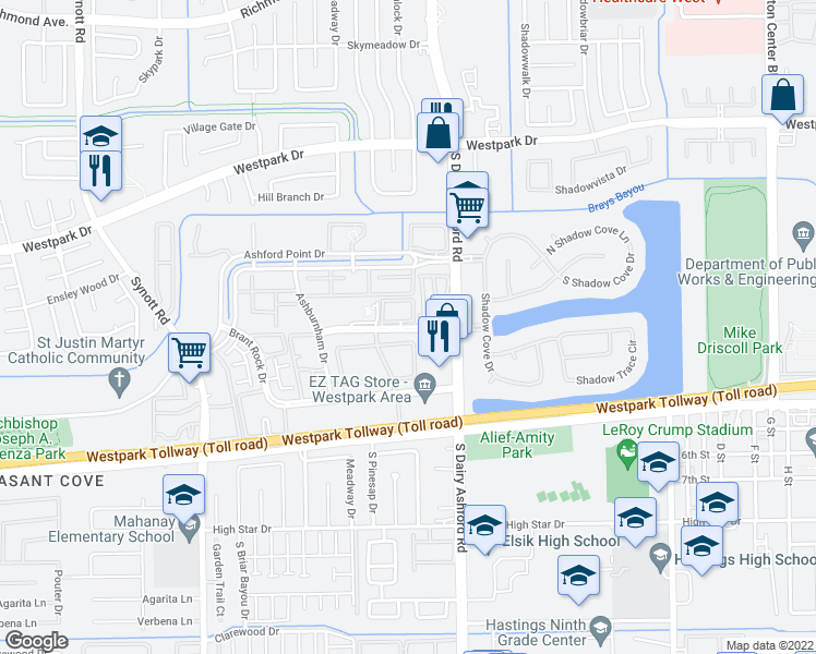 map of restaurants, bars, coffee shops, grocery stores, and more near 12660 Medfield Dr in Houston
