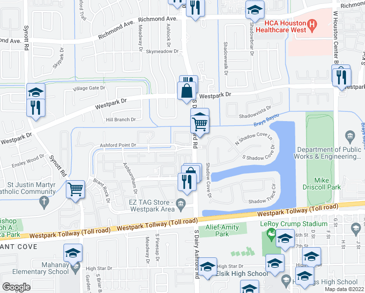 map of restaurants, bars, coffee shops, grocery stores, and more near 12512 North Ashford Villa Lane in Houston