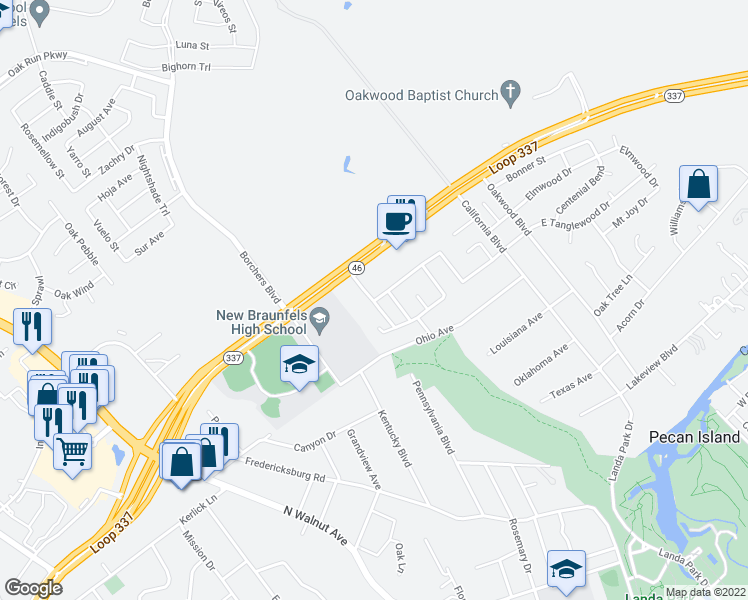 map of restaurants, bars, coffee shops, grocery stores, and more near 8 West Tanglewood Drive in New Braunfels
