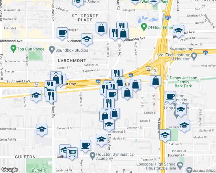 map of restaurants, bars, coffee shops, grocery stores, and more near Westpark Drive & South Rice Avenue in Houston