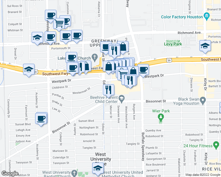 map of restaurants, bars, coffee shops, grocery stores, and more near 5135 Edloe St in Houston
