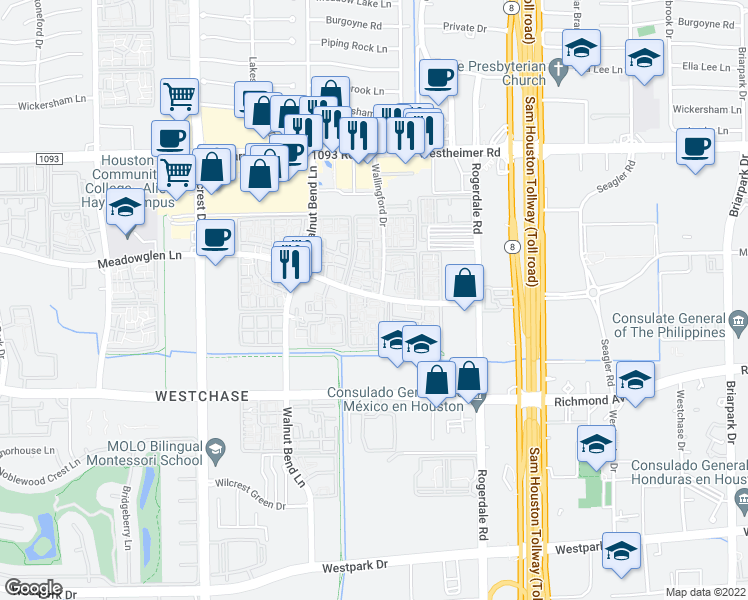 map of restaurants, bars, coffee shops, grocery stores, and more near 10775-10801 Meadowglen Ln in Houston