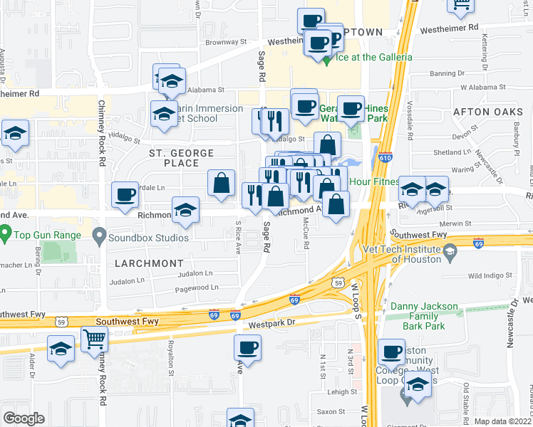 map of restaurants, bars, coffee shops, grocery stores, and more near Richmond Avenue & Sage Road in Houston