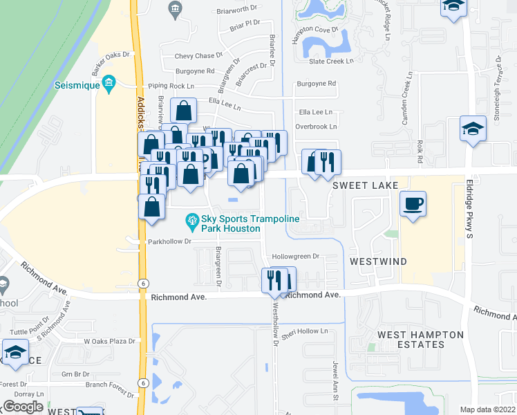 map of restaurants, bars, coffee shops, grocery stores, and more near 2562-2608 Westhollow Dr in Houston