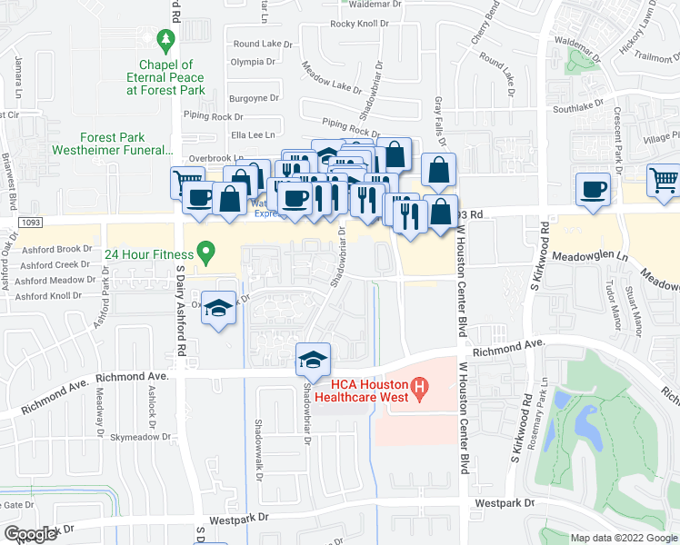map of restaurants, bars, coffee shops, grocery stores, and more near Shadowbriar Drive in Houston