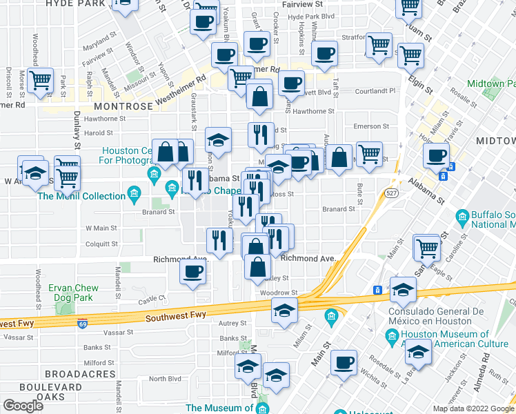map of restaurants, bars, coffee shops, grocery stores, and more near 3939 Montrose Blvd in Houston