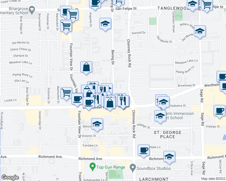 map of restaurants, bars, coffee shops, grocery stores, and more near 2600 Bering Dr in Houston