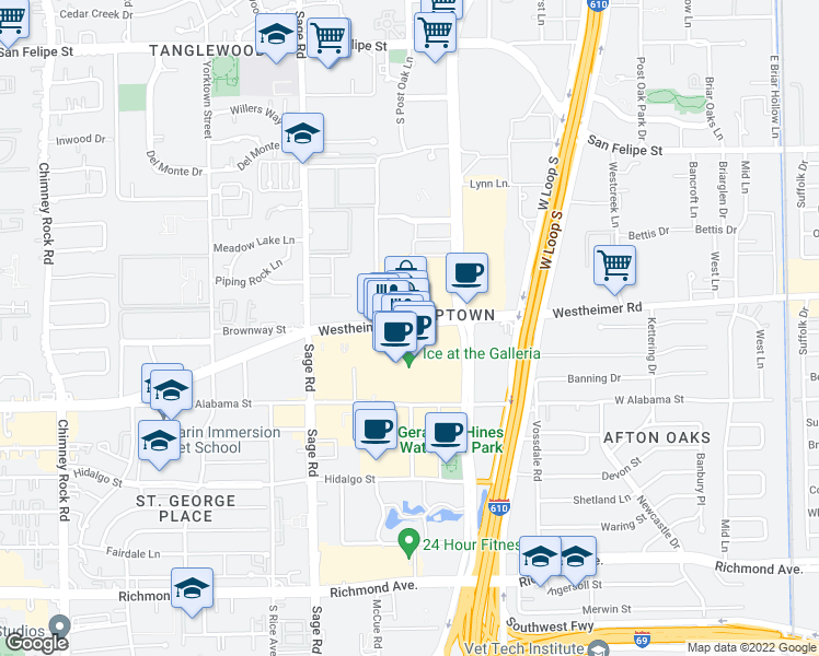 map of restaurants, bars, coffee shops, grocery stores, and more near 5085 Westheimer Road in Houston