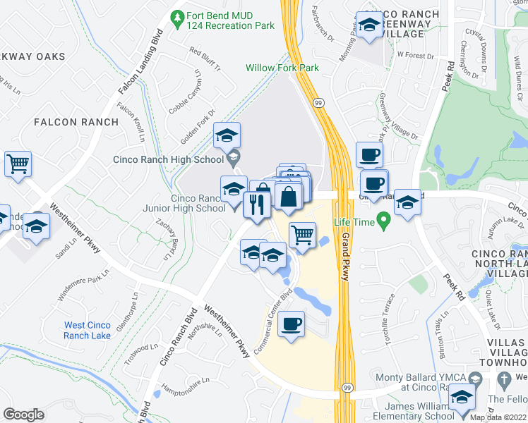 map of restaurants, bars, coffee shops, grocery stores, and more near Cinco Ranch High School Blvd in Katy