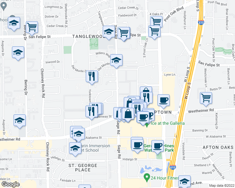 map of restaurants, bars, coffee shops, grocery stores, and more near 5201-5221 Meadow Lake Ln in Houston