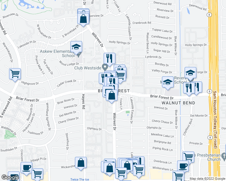 map of restaurants, bars, coffee shops, grocery stores, and more near Wilcrest Dr & Briar Forest Dr in Houston