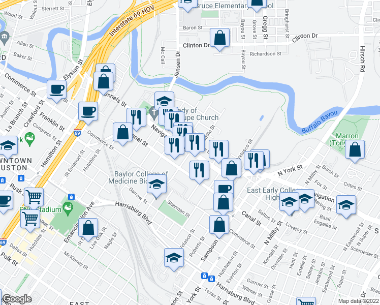 map of restaurants, bars, coffee shops, grocery stores, and more near Navigation Blvd & N Delano St in Houston