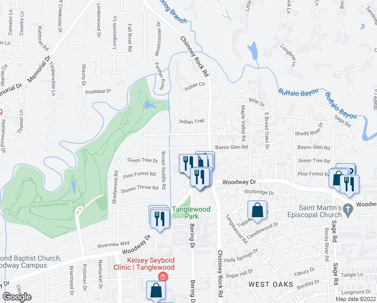 map of restaurants, bars, coffee shops, grocery stores, and more near 5803 Bayou Glen Road in Houston