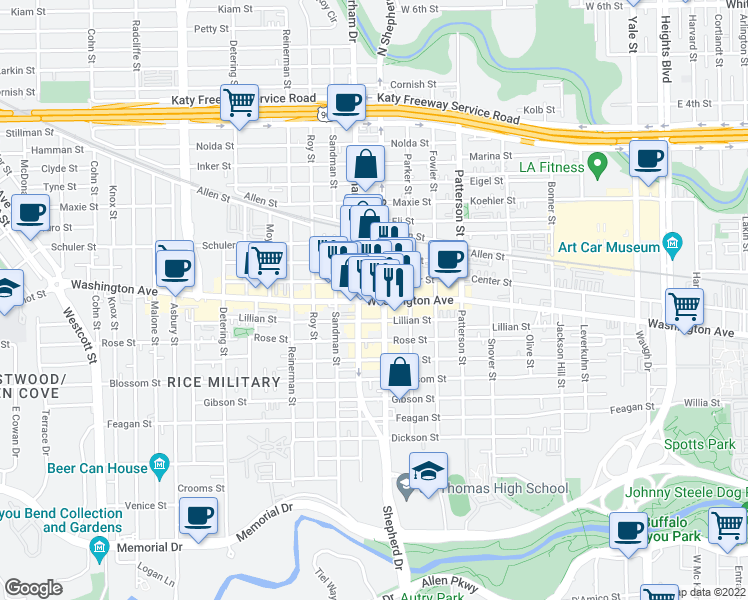 map of restaurants, bars, coffee shops, grocery stores, and more near 4822 Washington Avenue in Houston