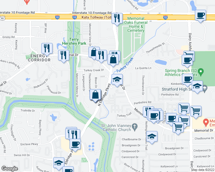 map of restaurants, bars, coffee shops, grocery stores, and more near N Eldridge Pkwy & Memorial Dr in Houston