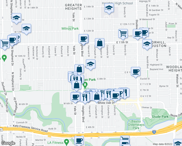 map of restaurants, bars, coffee shops, grocery stores, and more near 805 Cortlandt Street in Houston
