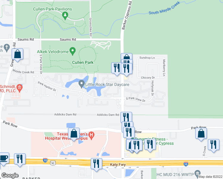 map of restaurants, bars, coffee shops, grocery stores, and more near 18108 South Parkview Drive in Houston