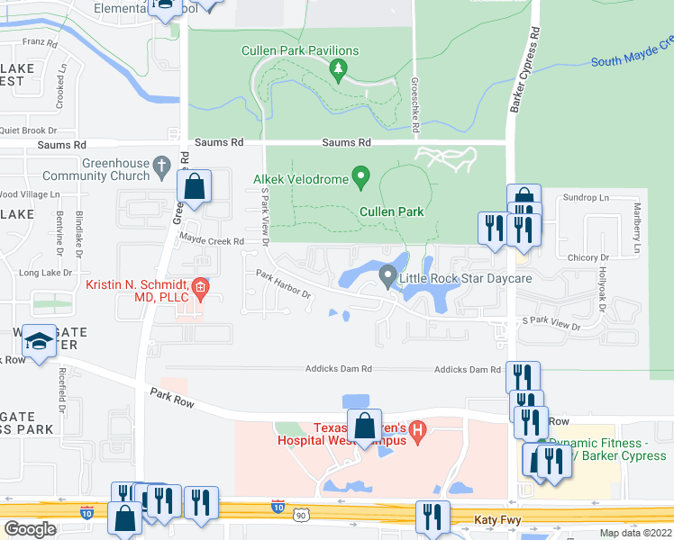 map of restaurants, bars, coffee shops, grocery stores, and more near 18600 S Park View Dr in Houston