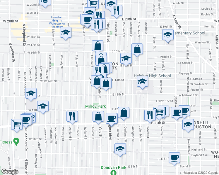 map of restaurants, bars, coffee shops, grocery stores, and more near Heights Blvd in Houston