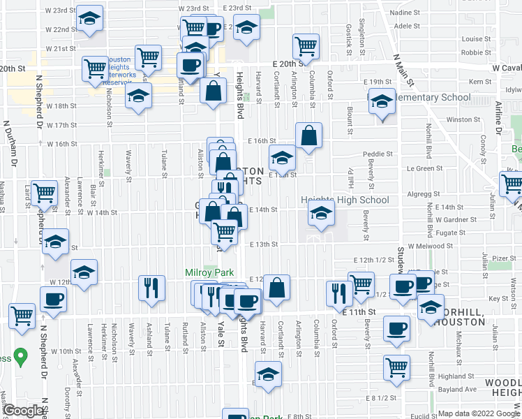 map of restaurants, bars, coffee shops, grocery stores, and more near 1400 Harvard Street in Houston