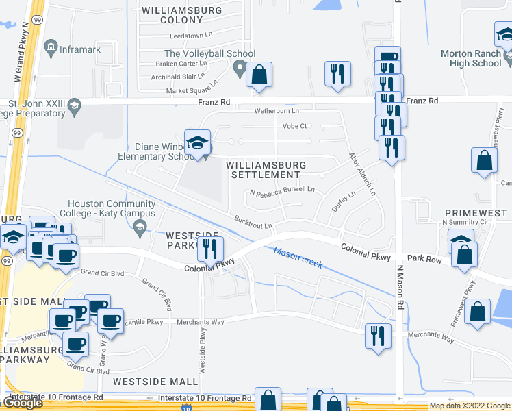 map of restaurants, bars, coffee shops, grocery stores, and more near 22439 S Rebecca Burwell Ln in Katy